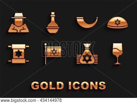 Set Flag Of Israel, Jewish Kippah, Goblet, Money Bag, Torah Scroll, Traditional Ram Horn, Shofar, Or