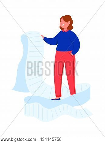 Cartoon Business Woman Looking Through Giant To Do List. Flat Vector Illustration. Female Business P