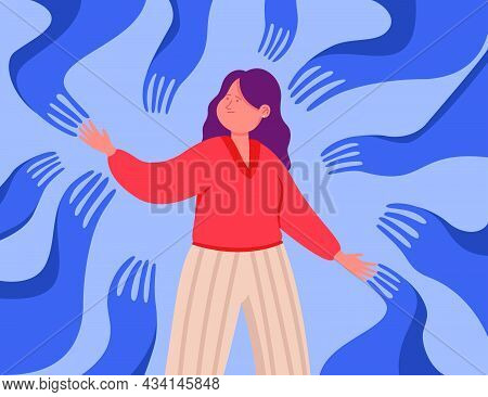 Creepy Hands Crawling Towards Female Cartoon Character. Woman Indebted Or Attached To Bad People, Co