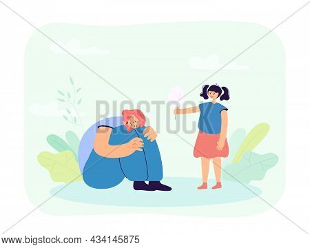 Cute Little Girl Offering Cotton Candy To Sad Friend. Kid Comforting Upset Female Character Sitting