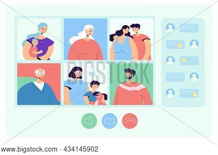 Family Web Chat Flat Vector Illustration. Parents, Grandparents, Children, Old And Young Relatives C