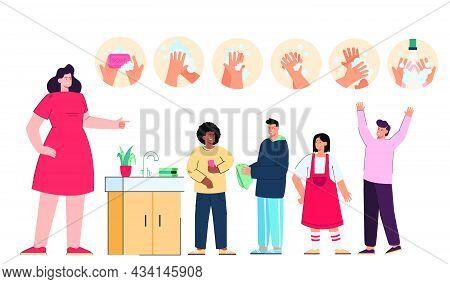 Female Cartoon Teacher Teaching Kids Hand Washing Steps. Kids Washing Hands With Soap In School Bath