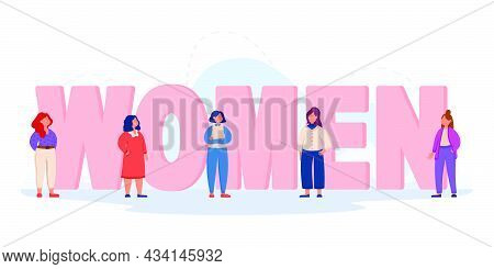 Giant Letters Of Word Women With Tiny Girls Nearby. Flat Vector Illustration. Team Of Feminists Stan