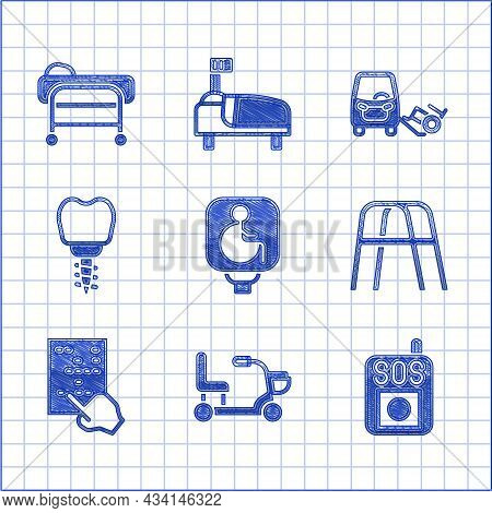 Set Disabled Wheelchair, Electric, Press The Sos Button, Walker, Braille, Dental Implant, Car And St