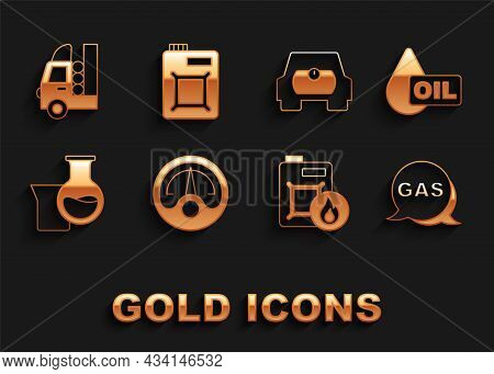 Set Motor Gas Gauge, Oil Drop, Location And Station, Canister For Motor Oil, Petrol Test Tube, Gas T