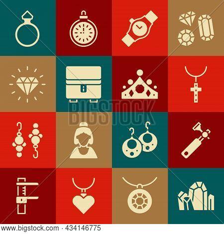 Set Gem Stone, Jewelers Lupe, Christian Cross Chain, Wrist Watch, Jewelry Box, Diamond, Engagement R