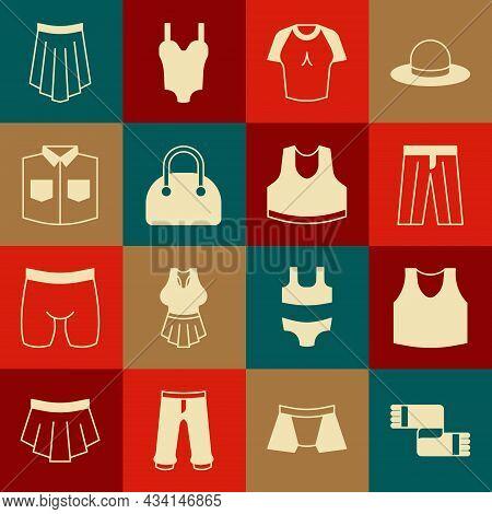 Set Winter Scarf, Undershirt, Pants, T-shirt, Handbag, Shirt, Skirt And Icon. Vector