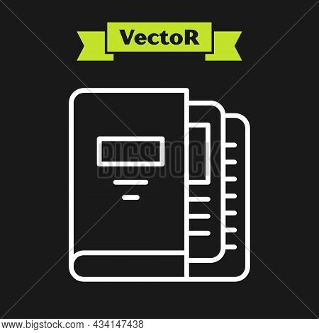White Line Office Folders With Papers And Documents Icon Isolated On Black Background. Office Binder