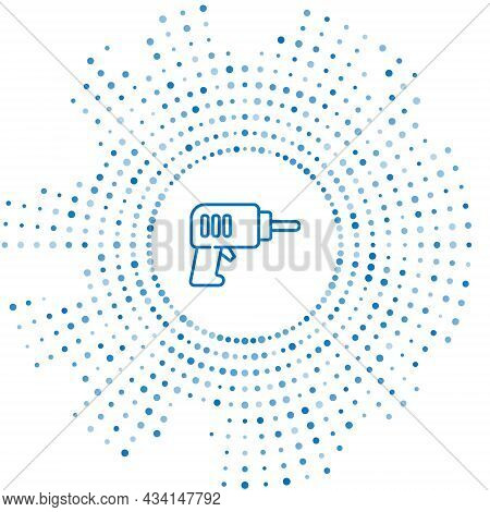 Blue Line Electric Drill Machine Icon Isolated On White Background. Repair Tool. Abstract Circle Ran