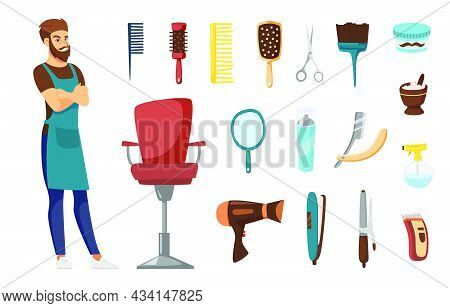 Male Hairdresser Character For Kids Vector Illustrations Set. Man In Apron, Hairdressing Accessories