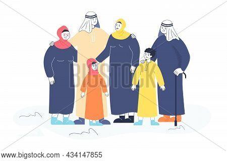 Muslim Family In Traditional Dresses Flat Vector Illustration. Happy Mom, Dad, Grandmother, Grandfat