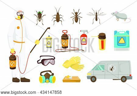 Pest Control Service Worker For Kids Vector Illustrations Set. Man With Fumigation Equipment, Instru
