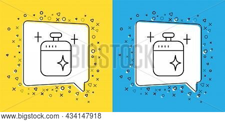 Set Line Clean Cooking Pot Icon Isolated On Yellow And Blue Background. Boil Or Stew Food Symbol. Ve