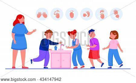 Teacher Watching Kids Washing Hands In School Bathroom. Woman Teaching Children Proper Handwashing F