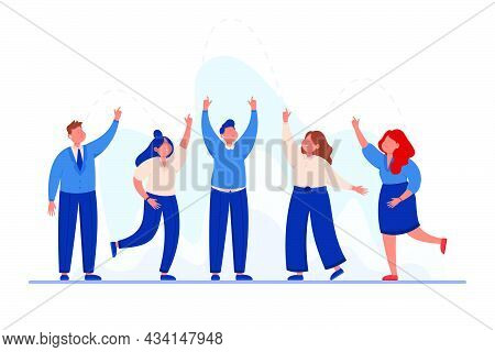 Team Of Business People Putting Hands Up Together. Businessman And Group Of Workers In Suits With Fi