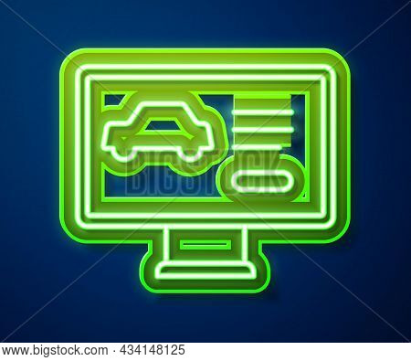 Glowing Neon Line Hardware Diagnostics Condition Of Car Icon Isolated On Blue Background. Car Servic