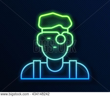 Glowing Neon Line Jeweler Man Icon Isolated On Blue Background. Vector