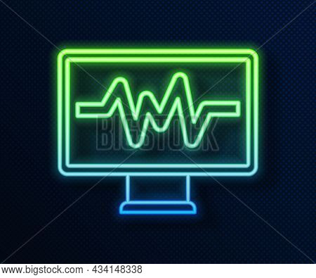 Glowing Neon Line Computer Monitor With Cardiogram Icon Isolated On Blue Background. Monitoring Icon