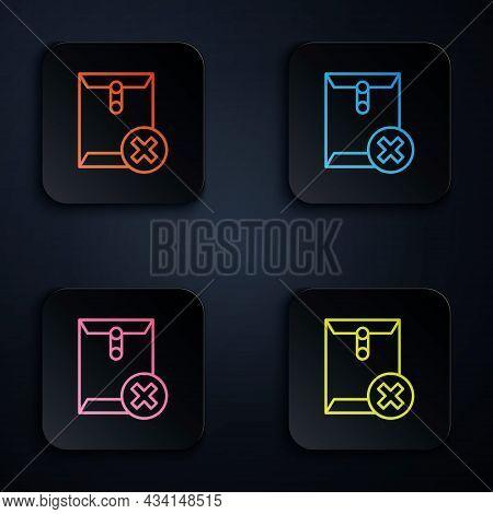 Color Neon Line Delete Envelope Icon Isolated On Black Background. Delete Or Error Letter. Cross On