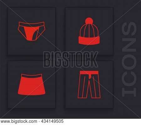Set Pants, Men Underpants, Winter Hat And Skirt Icon. Vector