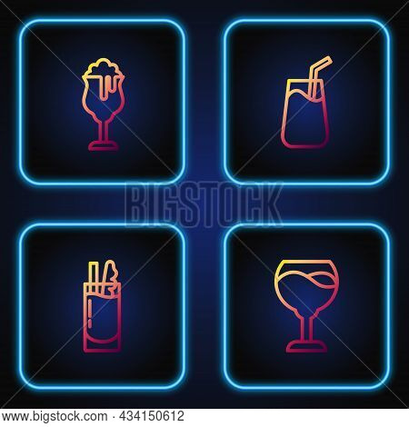 Set Line Wine Glass, Cocktail Bloody Mary, Glass Of Beer And . Gradient Color Icons. Vector