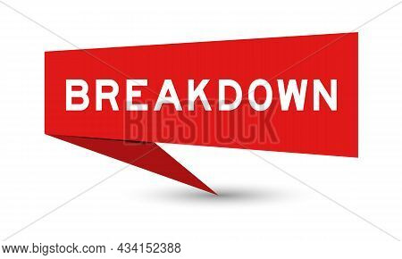 Red Color Speech Banner With Word Breakdown On White Background