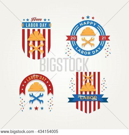 Set Of Labor Day Celebration Badge Logo Icon Vector Illustration Design. Simple Badge Modern Greetin