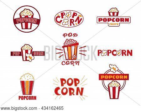 Popcorn Logo. Cartoon Retro Cinema Snacks Label Design. Movie Premiere Food Badges Template For Bran