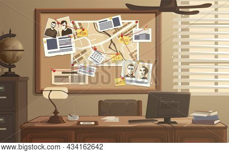 Detective Workplace. Police Office With Investigation Board. Searching Evidences. Photos, Notes And