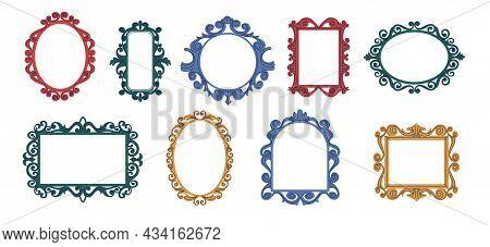 Decorative Frames. Doodle Trendy Curly Mirror Borders. Elegant Vintage Hand Drawn Framing Mockup. Is