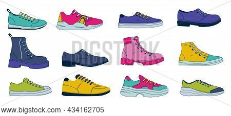 Doodle Shoes. Simple Abstract Footwear. Mens And Womens Boots With Laces. Sport Or Casual Sneakers.