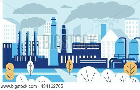 Industrial Pollution Landscape. Factory Polluted City With Carbon Dioxide And Smoke. Toxic Industry