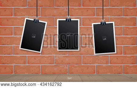 Empty Photo Frame Set On Red Brick Wall Texture Background. Vintage Background. Vector Illustration.