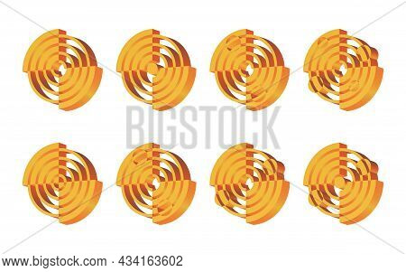 A Set Of 8 Isometric 3d Logos. Abstract Round Logo Template. Sector Geometric Shape, Symmetrical Sym