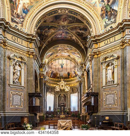 Voghera, Italy - June 28,2021 - Interior Of Cathedral Of Saint Lawrence In Voghera. Voghera  Is A To