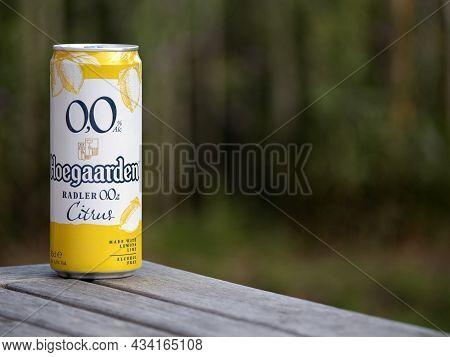 Hoegaarden, Belgium, September 25, 2021, The Beer Brand Hoegaarden Radler With Citrus Fruits With 0.
