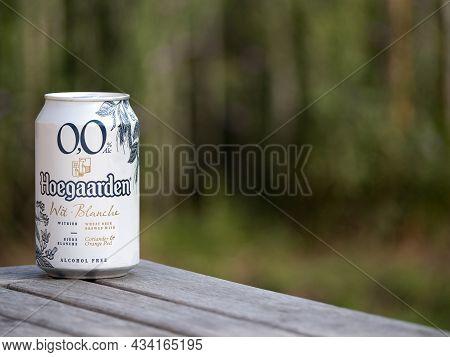 Hoegaarden, Belgium, September 25, 2021, The Beer Brand Hoegaarden White Beer Contains 0.0 Percent A