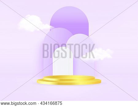 Minimal Scene With Gold Podium And Cloud Abstract Purple Background Scene Studio Or Pedestal For Dis