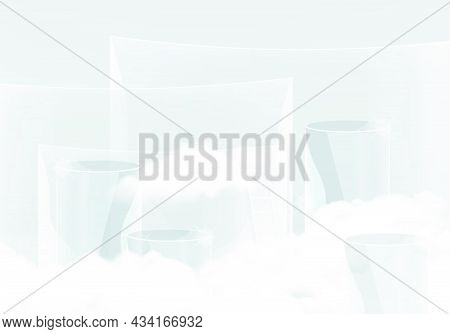Minimal Scene With Transparent Podium And Cloud Abstract Transparent  Background Scene Studio Or Ped