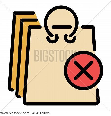 Canceled Delivery Bags Icon. Outline Canceled Delivery Bags Vector Icon Color Flat Isolated