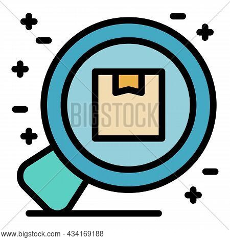 Zoom Box Delivery Icon. Outline Zoom Box Delivery Vector Icon Color Flat Isolated