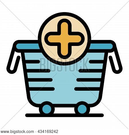 Supply Cart Icon. Outline Supply Cart Vector Icon Color Flat Isolated