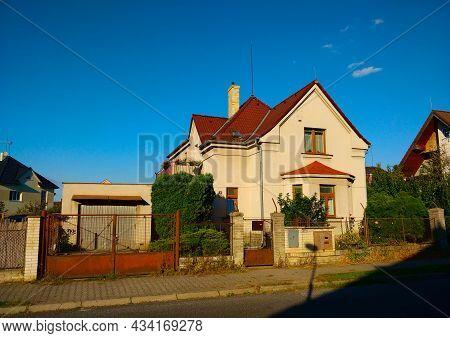 Dolni Pocernice, Czech Republic - September 25, 2021: Old Traditional Village House In The Place Nea