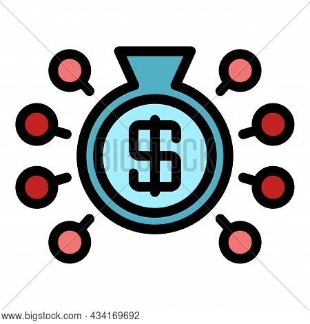Advertise Budget Icon. Outline Advertise Budget Vector Icon Color Flat Isolated