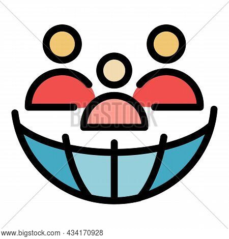 Global People Tourism Icon. Outline Global People Tourism Vector Icon Color Flat Isolated