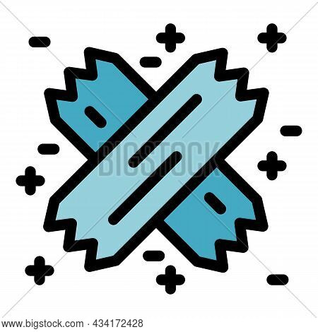 Adhesive Plaster Cross Icon. Outline Adhesive Plaster Cross Vector Icon Color Flat Isolated