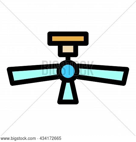 Ceiling Fan Icon. Outline Ceiling Fan Vector Icon Color Flat Isolated