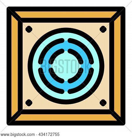 Square Ventilation Cover Icon. Outline Square Ventilation Cover Vector Icon Color Flat Isolated
