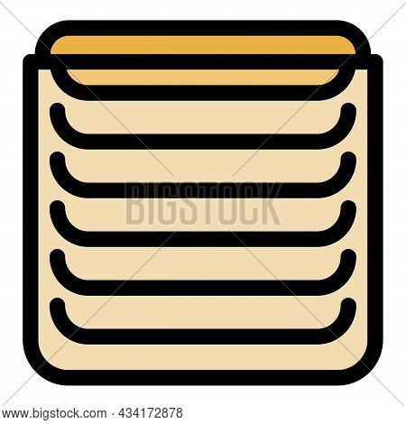 Metal Vertical Cover Icon. Outline Metal Vertical Cover Vector Icon Color Flat Isolated
