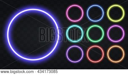 Neon Circle Border With Copy Space. Templates Set Of Neon Frame. Geometric Glow Outline Shape Or Las